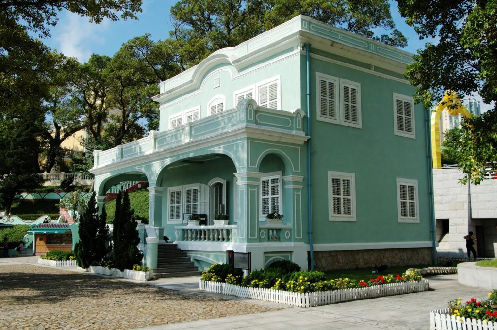green paint of the house